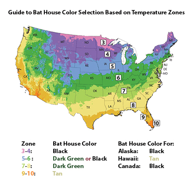 Guide to Bat House Color Based on USA Temperature Zones 3-10