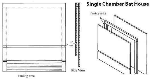 Single Chamber Bat House Design